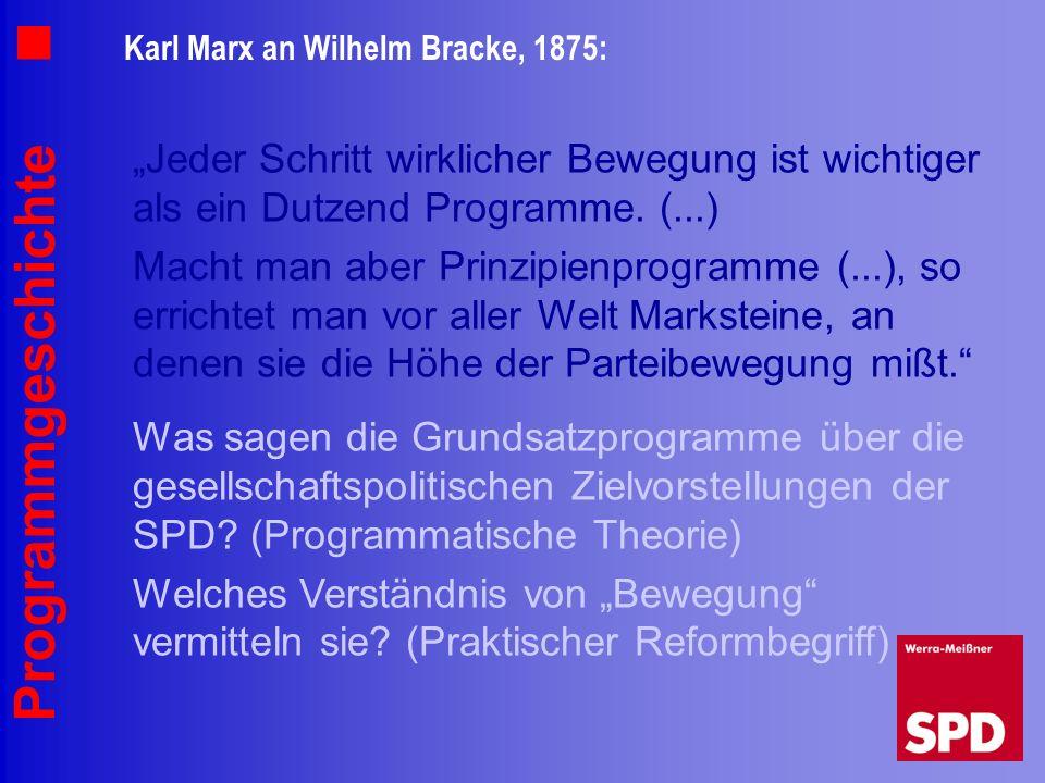 Programmgeschichte Karl Marx an Wilhelm Bracke, 1875: Jeder Schritt wirklicher Bewegung ist wichtiger als ein Dutzend Programme. (...) Macht man aber