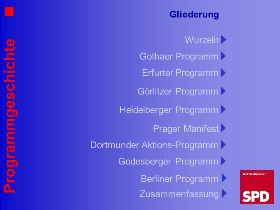Programmgeschichte Gliederung Gothaer Programm Wurzeln Erfurter Programm Görlitzer Programm Heidelberger Programm Prager Manifest Godesberger Programm