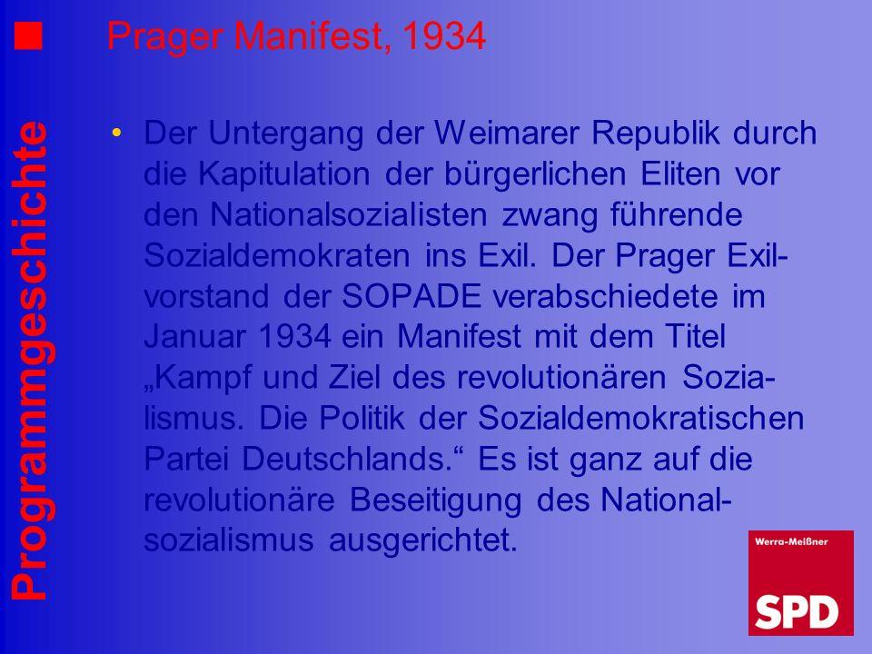 Programmgeschichte Prager Manifest, 1934 Der Untergang der Weimarer Republik durch die Kapitulation der bürgerlichen Eliten vor den Nationalsozialiste