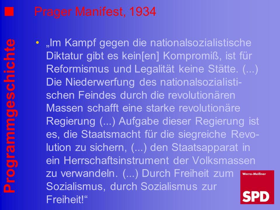 Programmgeschichte Prager Manifest, 1934 Im Kampf gegen die nationalsozialistische Diktatur gibt es kein[en] Kompromiß, ist für Reformismus und Legali