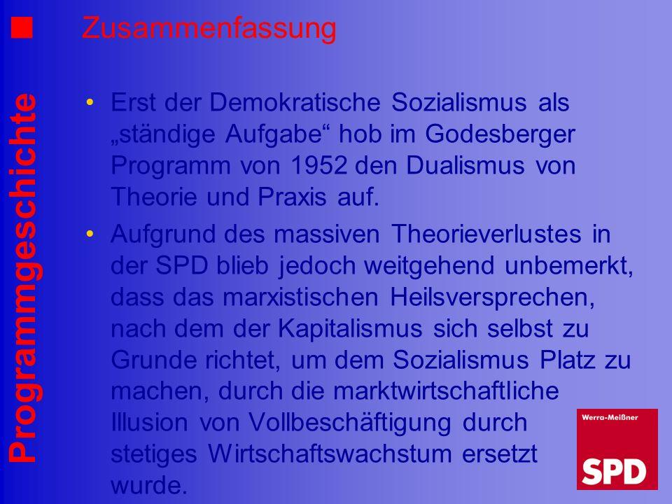 Programmgeschichte Zusammenfassung Erst der Demokratische Sozialismus als ständige Aufgabe hob im Godesberger Programm von 1952 den Dualismus von Theo