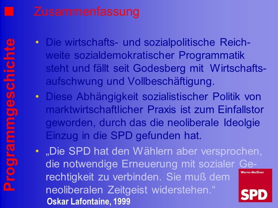Programmgeschichte Zusammenfassung Die wirtschafts- und sozialpolitische Reich- weite sozialdemokratischer Programmatik steht und fällt seit Godesberg