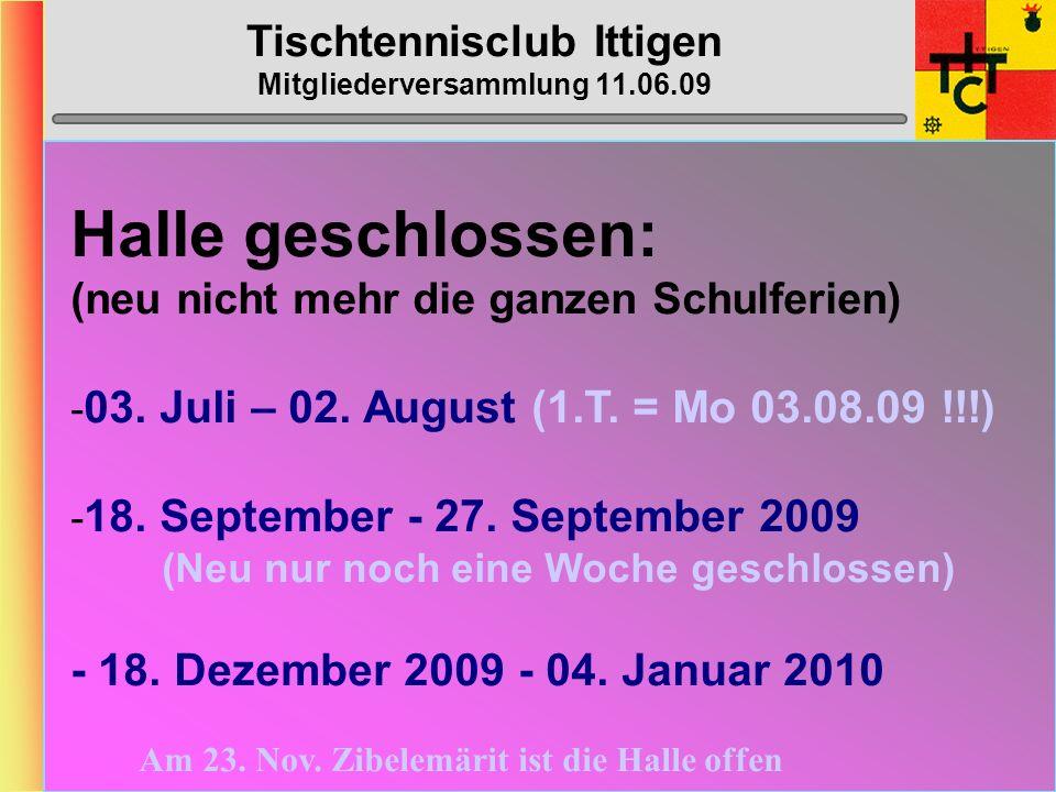 Tischtennisclub Ittigen Mitgliederversammlung 11.06.09 MTTV-/STT-Cup 2009/2010 STT-Cup gemäss Umfrage MTTV-Cup gemäss Umfrage