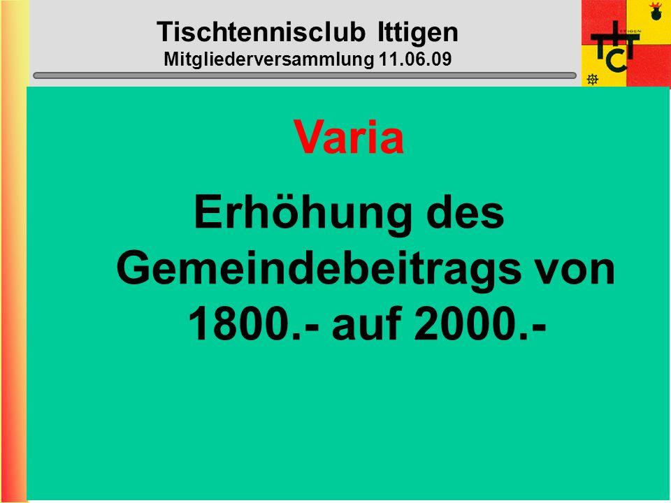 Tischtennisclub Ittigen Mitgliederversammlung 11.06.09 Halle geschlossen: (neu nicht mehr die ganzen Schulferien) - 03.