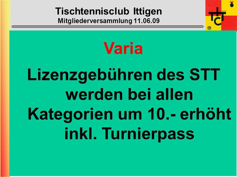 Tischtennisclub Ittigen Mitgliederversammlung 11.06.09 Varia Erhöhung des Gemeindebeitrags von 1800.- auf 2000.-