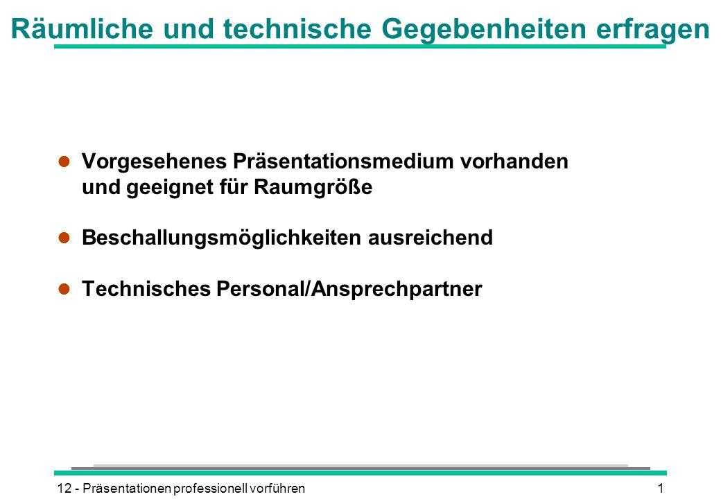 12 - Präsentationen professionell vorführen1 Räumliche und technische Gegebenheiten erfragen l Vorgesehenes Präsentationsmedium vorhanden und geeignet