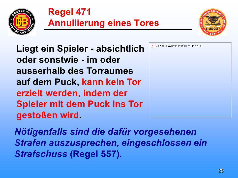 22 ______________________ Ein Tor ist ungültig, wenn der Torhüter mit dem Puck in das Tor ge- stoßen wird, nachdem er den Puck fest- gehalten hat.