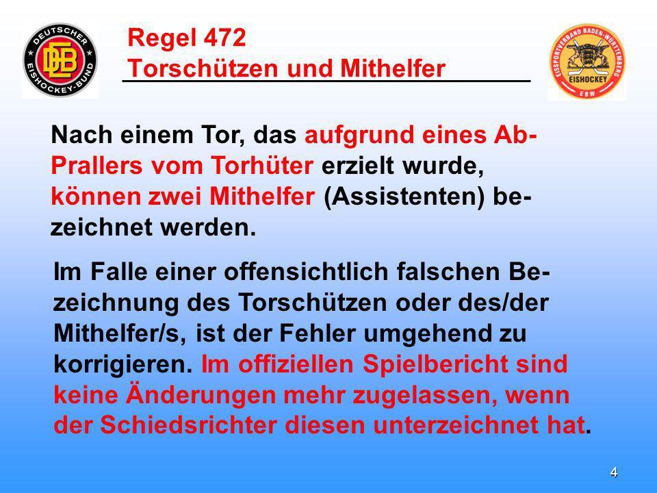 3 Regel 472 Torschützen und Mithelfer Für ein erzieltes Tor können nicht mehr als zwei Assist Punkte gutgeschrieben.
