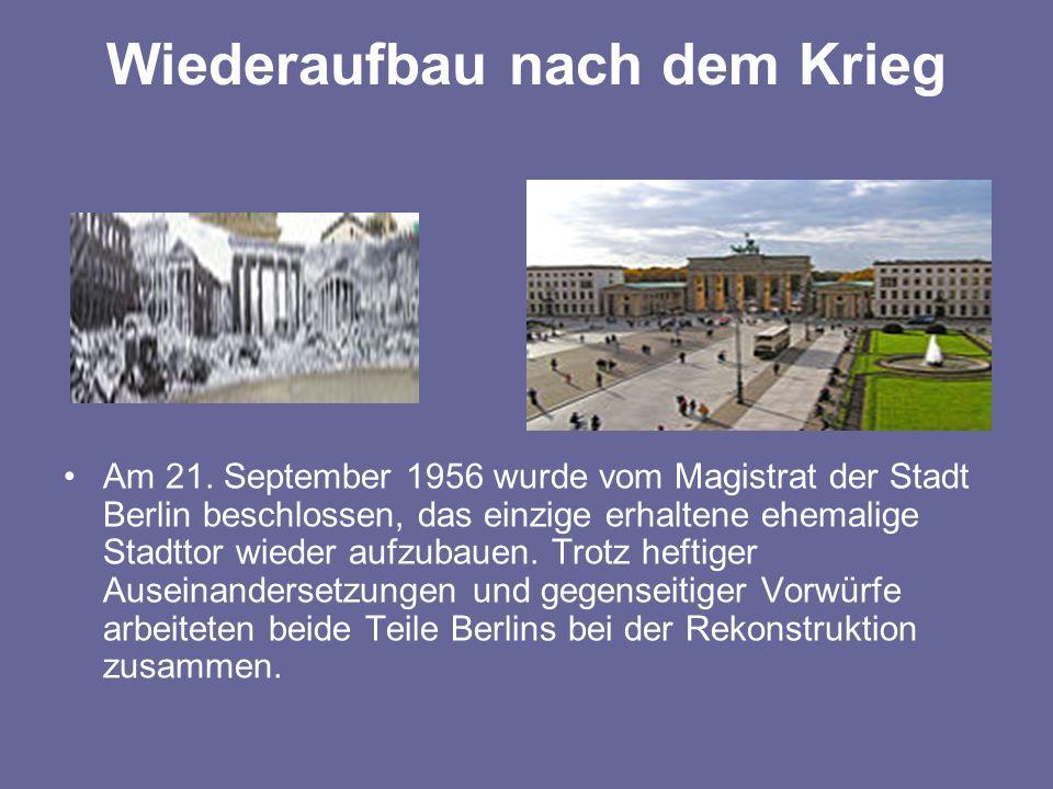 Wiederaufbau nach dem Krieg Am 21.