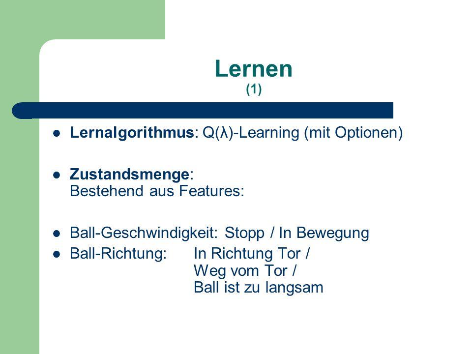 Lernen (1) Lernalgorithmus: Q(λ)-Learning (mit Optionen) Zustandsmenge: Bestehend aus Features: Ball-Geschwindigkeit: Stopp / In Bewegung Ball-Richtung: In Richtung Tor / Weg vom Tor / Ball ist zu langsam