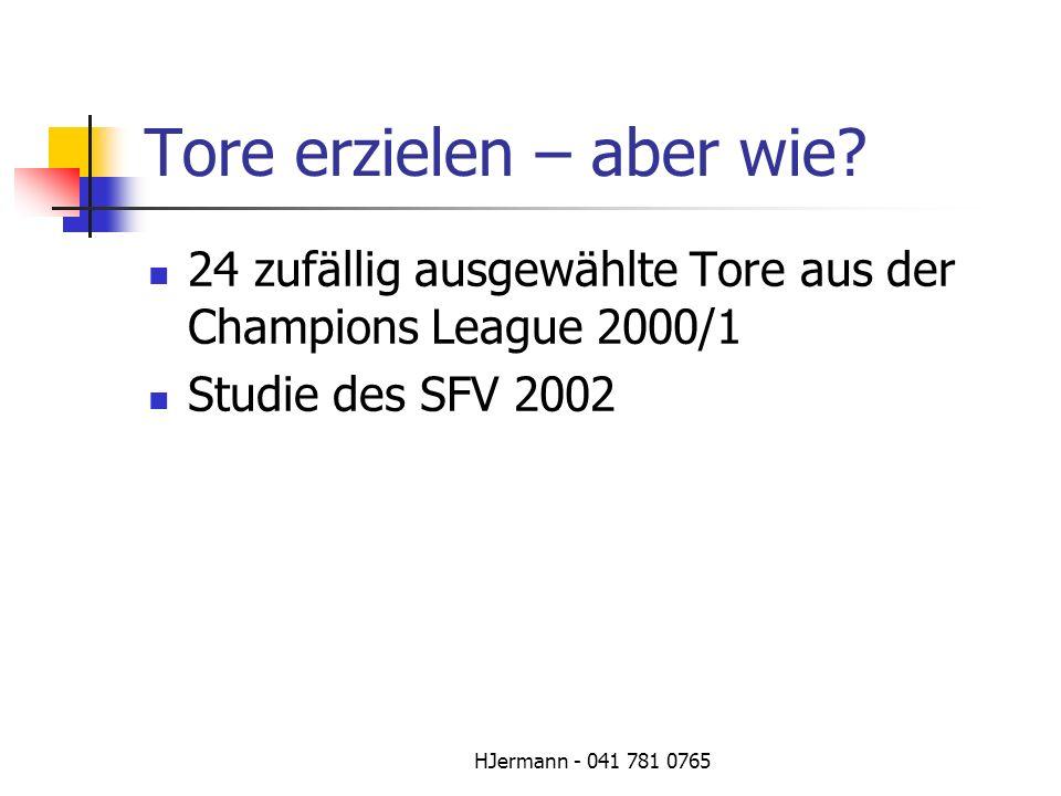 HJermann - 041 781 0765 Tore erzielen – aber wie? 24 zufällig ausgewählte Tore aus der Champions League 2000/1 Studie des SFV 2002