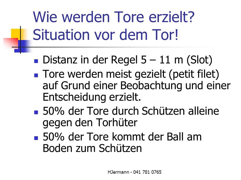 HJermann - 041 781 0765 Wie werden Tore erzielt? Situation vor dem Tor! Distanz in der Regel 5 – 11 m (Slot) Tore werden meist gezielt (petit filet) a