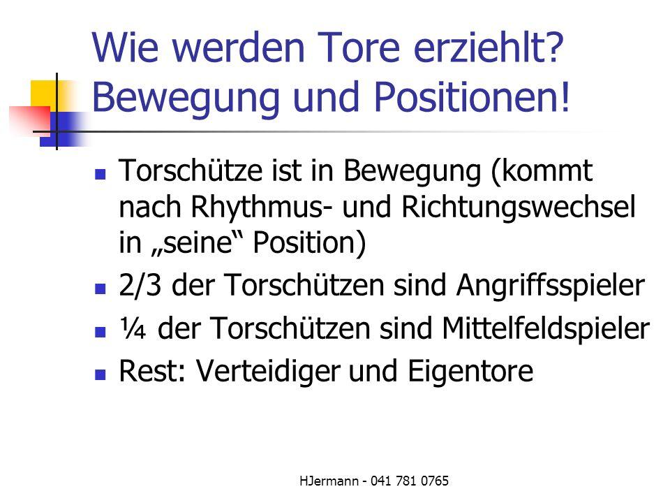 HJermann - 041 781 0765 Wie werden Tore erziehlt? Bewegung und Positionen! Torschütze ist in Bewegung (kommt nach Rhythmus- und Richtungswechsel in se