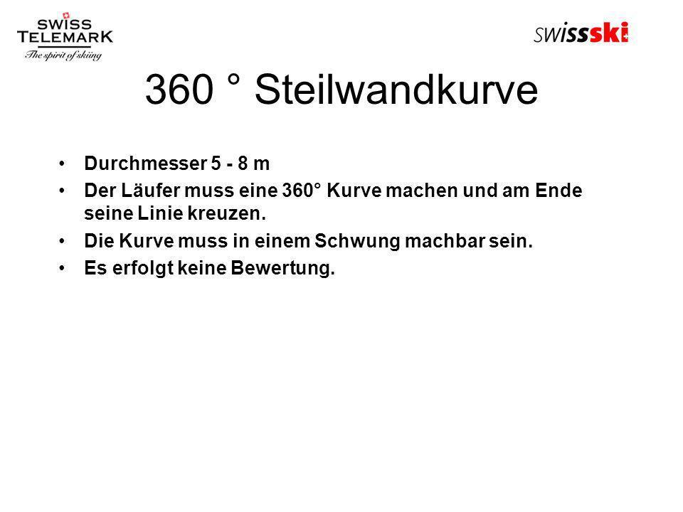 360 ° Steilwandkurve Durchmesser 5 - 8 m Der Läufer muss eine 360° Kurve machen und am Ende seine Linie kreuzen. Die Kurve muss in einem Schwung machb