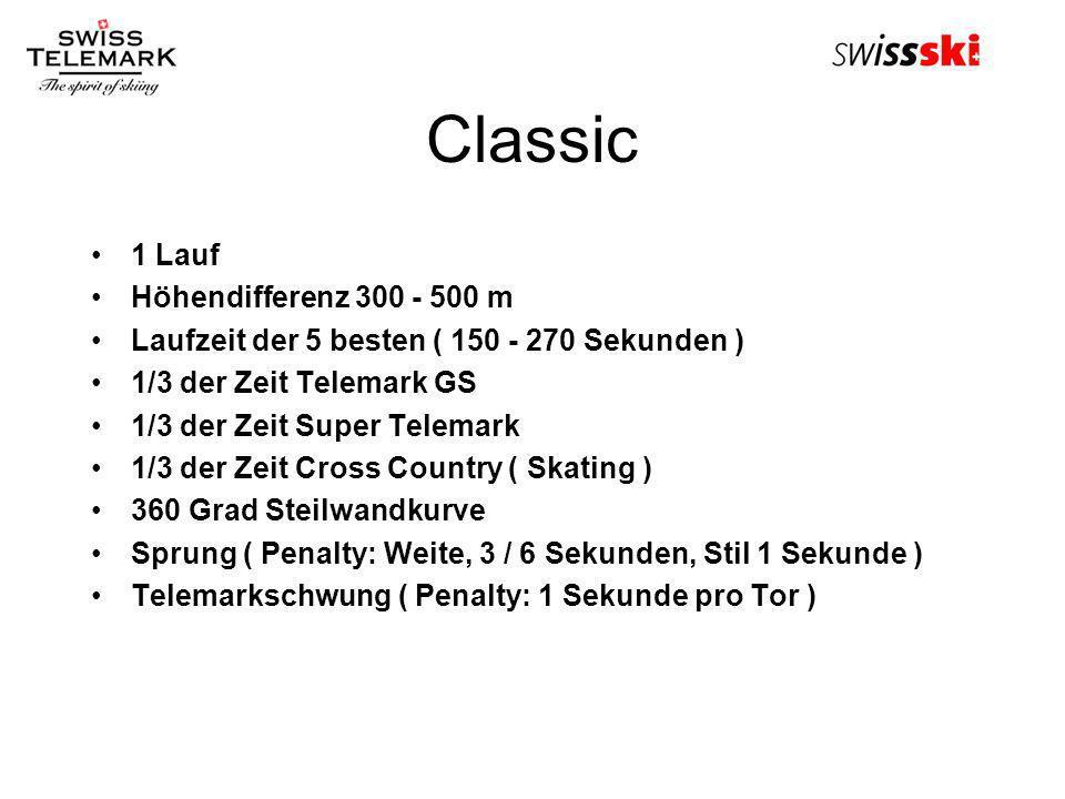 Classic 1 Lauf Höhendifferenz 300 - 500 m Laufzeit der 5 besten ( 150 - 270 Sekunden ) 1/3 der Zeit Telemark GS 1/3 der Zeit Super Telemark 1/3 der Ze