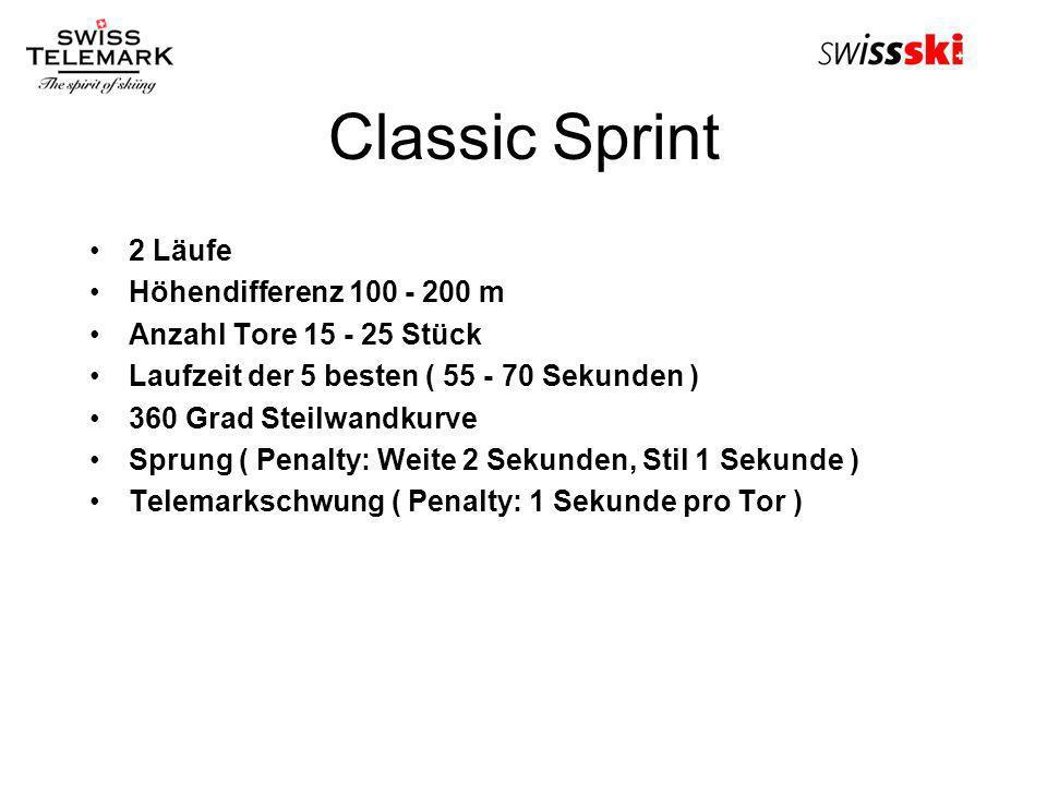 Classic Sprint 2 Läufe Höhendifferenz 100 - 200 m Anzahl Tore 15 - 25 Stück Laufzeit der 5 besten ( 55 - 70 Sekunden ) 360 Grad Steilwandkurve Sprung