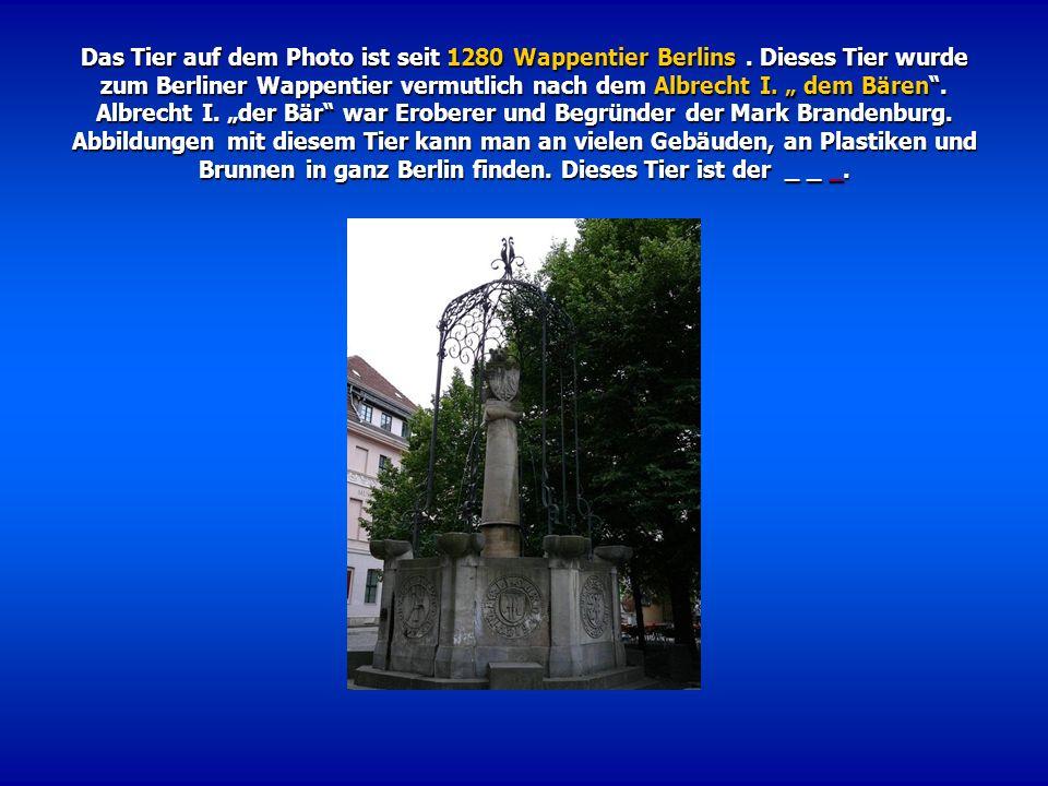 Das Tier auf dem Photo ist seit 1280 Wappentier Berlins. Dieses Tier wurde zum Berliner Wappentier vermutlich nach dem Albrecht I. dem Bären. Albrecht