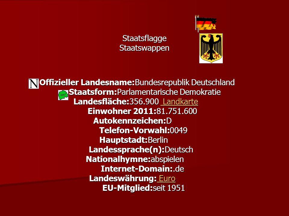 Staatsflagge StaatsflaggeStaatswappen Offizieller Landesname:Bundesrepublik Deutschland Offizieller Landesname:Bundesrepublik Deutschland Staatsform:P