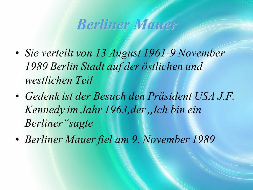 Berliner Mauer Sie verteilt von 13 August 1961-9 November 1989 Berlin Stadt auf der östlichen und westlichen Teil Gedenk ist der Besuch den Präsident USA J.F.