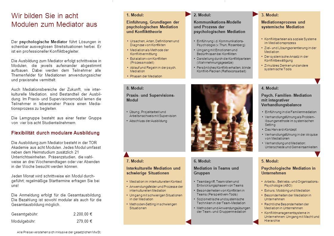 6. Modul: Mediation in Teams und Gruppen 7. Modul: Interkulturelle Mediation und schwierige Situationen 8. Modul: Praxis- und Supervisions- Modul 3. M