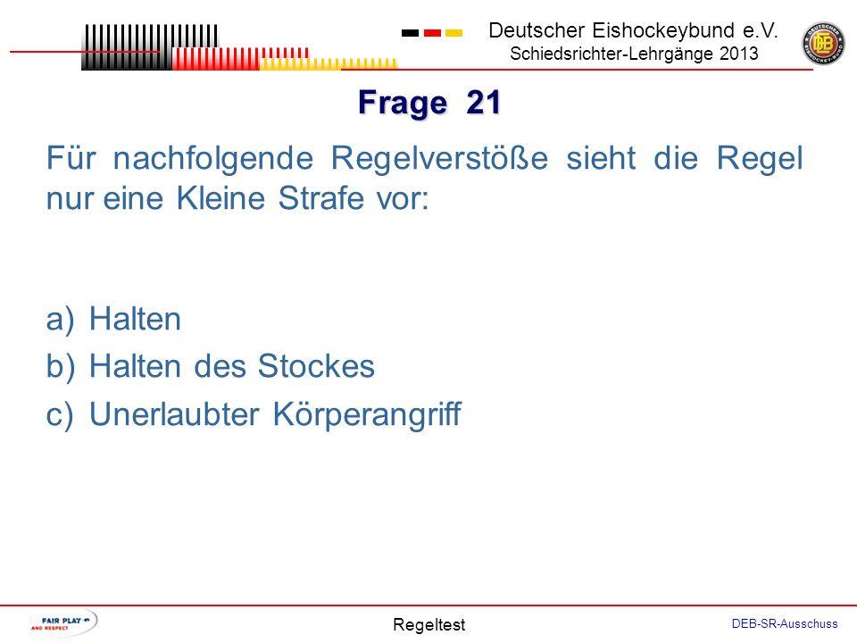 Frage 20 Deutscher Eishockeybund e.V.