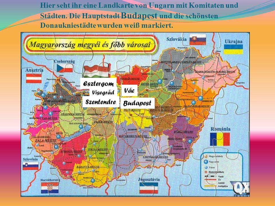 Hier seht ihr eine Landkarte von Ungarn mit Komitaten und Städten. Die Hauptstadt Budapest und die schönsten Donaukniestädte wurden weiß markiert. Bud