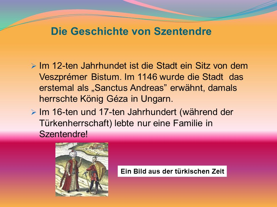 Die Geschichte von Szentendre Im 12-ten Jahrhundet ist die Stadt ein Sitz von dem Veszprémer Bistum. Im 1146 wurde die Stadt das erstemal als Sanctus