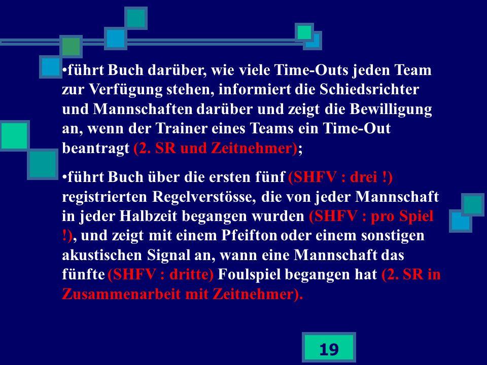19 führt Buch darüber, wie viele Time-Outs jeden Team zur Verfügung stehen, informiert die Schiedsrichter und Mannschaften darüber und zeigt die Bewil