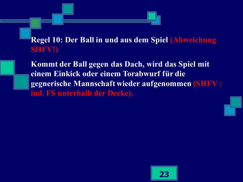 23 Regel 10: Der Ball in und aus dem Spiel (Abweichung SHFV!) Kommt der Ball gegen das Dach, wird das Spiel mit einem Einkick oder einem Torabwurf für