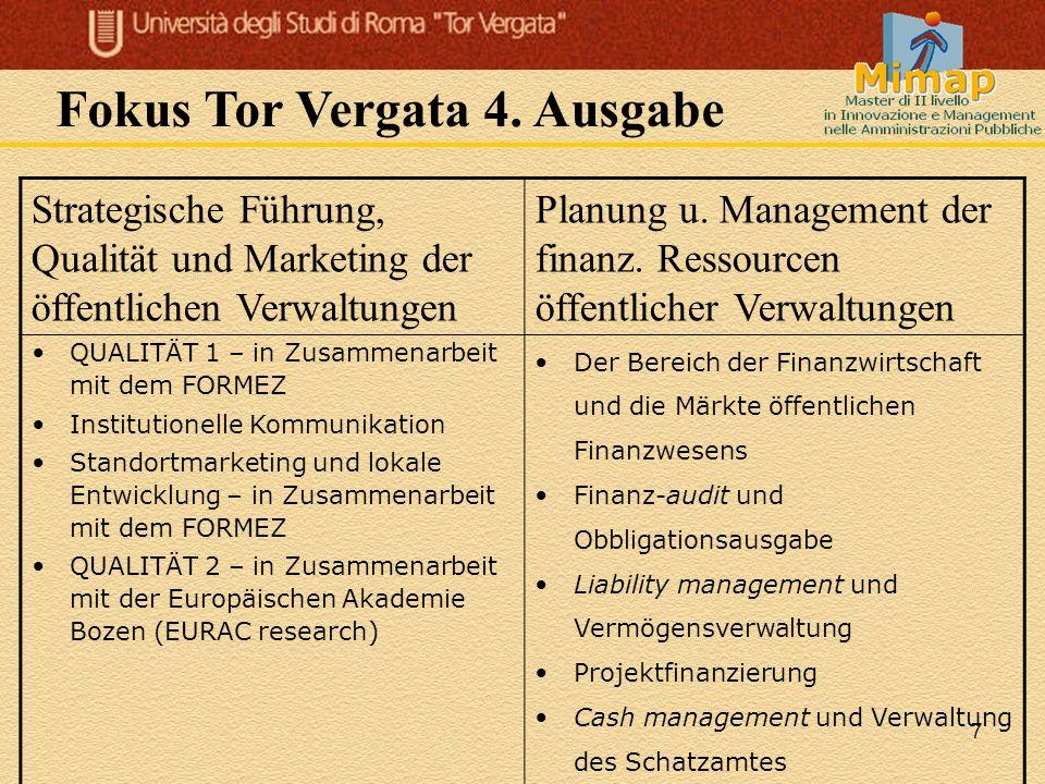 7 Strategische Führung, Qualität und Marketing der öffentlichen Verwaltungen Planung u. Management der finanz. Ressourcen öffentlicher Verwaltungen QU