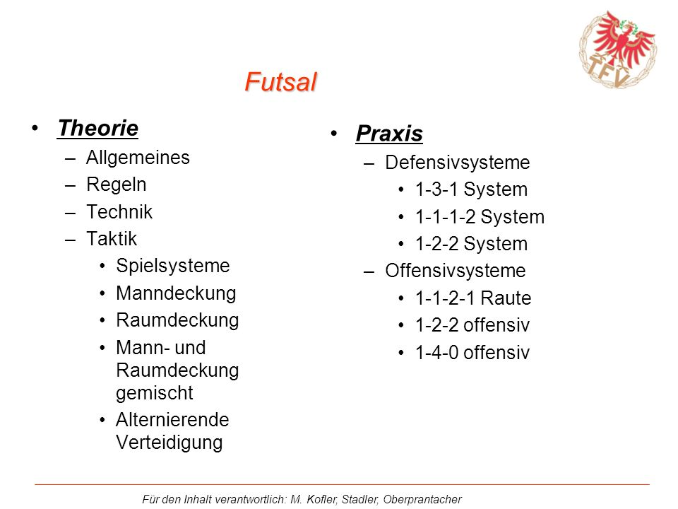 Für den Inhalt verantwortlich: M. Kofler, Stadler, Oberprantacher 1-1-1-2 System