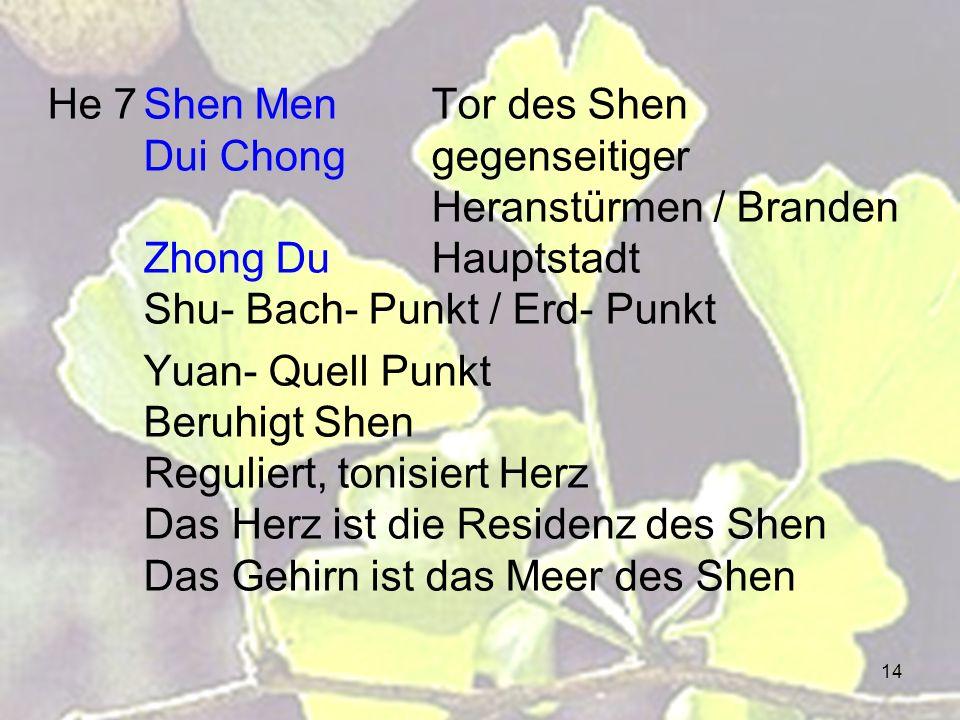 14 He 7Shen MenTor des Shen Dui Chonggegenseitiger Heranstürmen / Branden Zhong Du Hauptstadt Shu- Bach- Punkt / Erd- Punkt Yuan- Quell Punkt Beruhigt