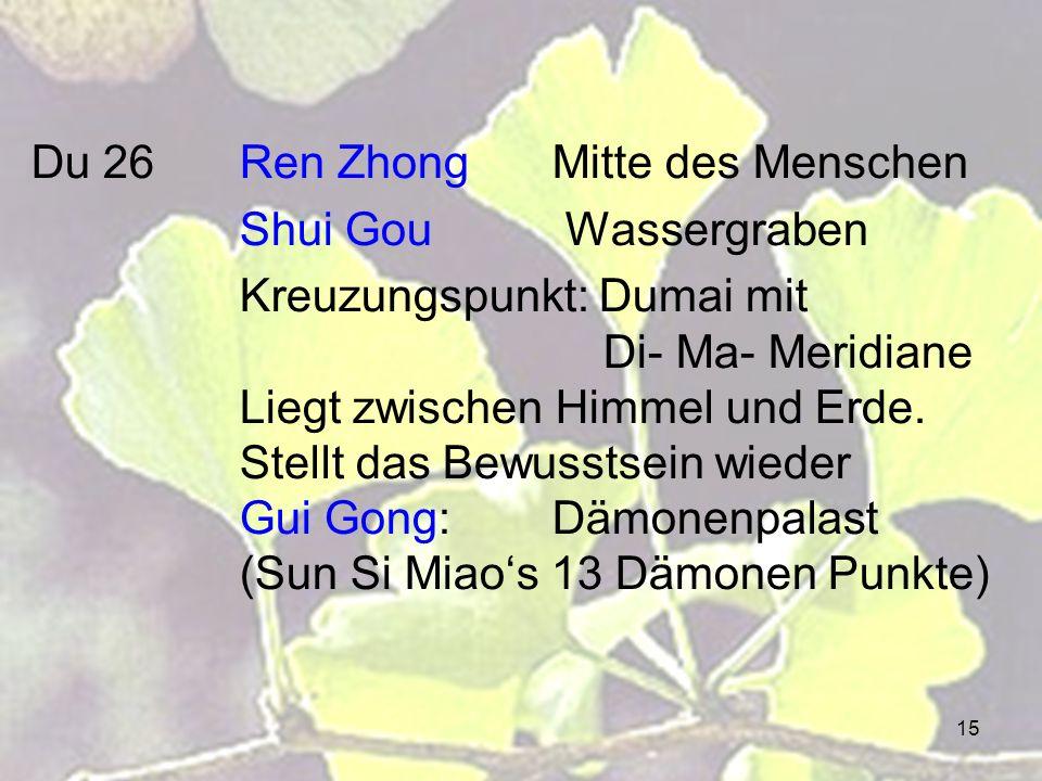 15 Du 26Ren ZhongMitte des Menschen Shui Gou Wassergraben Kreuzungspunkt: Dumai mit Di- Ma- Meridiane Liegt zwischen Himmel und Erde. Stellt das Bewus