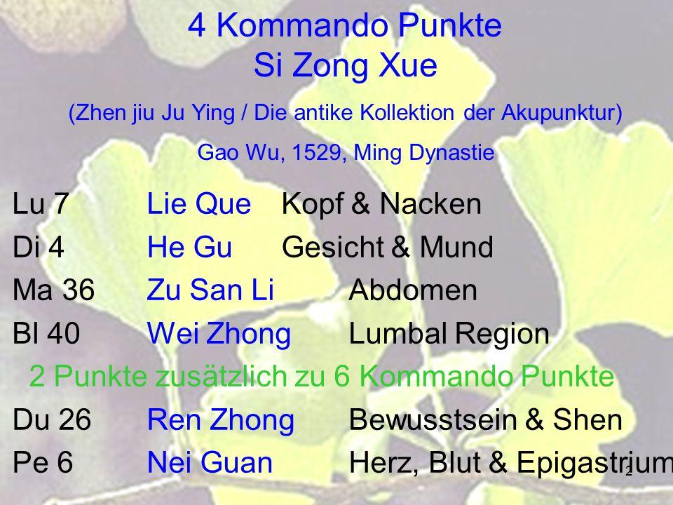 3 Lu 7 Lie QueUnterbrochene Reihenfolge Di 4He GuTalverbindung Di 11Qu Chigewundener Teich Ma 36Zu San LiDrei Entfernungen des Beines Ma 44 Nei TingInnerer Hof He 5Tong LiInnere Verbindung Bl 40Wei Zhongunterstützende Mitte Bl 57Cheng ShanBergstütze Bl 60Kun LunKun Lun Gebirge Gb 30Huan TiaoSpringen der Kreis Gb 34Yang Ling QuanYang Hügel Quelle Le 3Tai ChongGrosses Branden Ma Dan Yangs 11 Himmesternen Punkte Das Lied von 11 Punkten entsprechend den Himmelsternen Leuchtende Punkte wie Sterne, welche häufig verwendet wurden