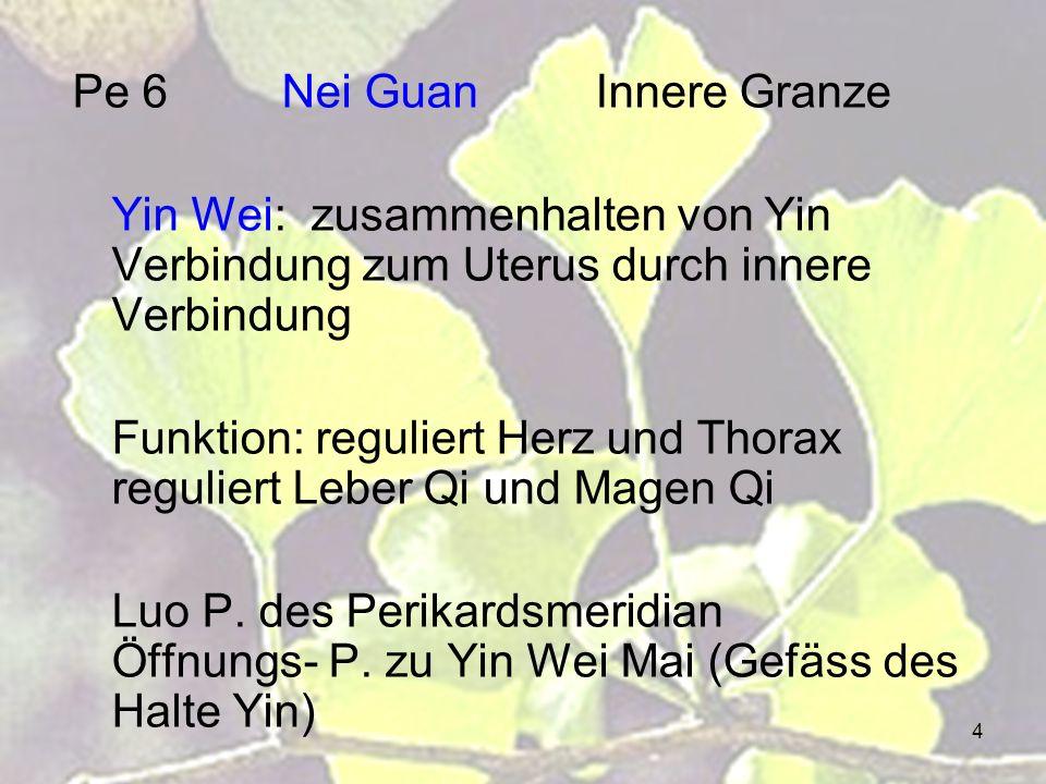 4 Pe 6Nei GuanInnere Granze Yin Wei: zusammenhalten von Yin Verbindung zum Uterus durch innere Verbindung Funktion: reguliert Herz und Thorax regulier
