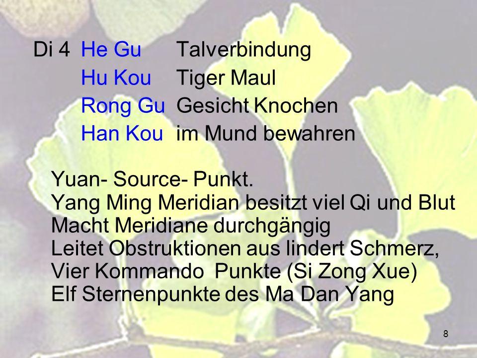 8 Di 4He GuTalverbindung Hu KouTiger Maul Rong GuGesicht Knochen Han Kouim Mund bewahren Yuan- Source- Punkt. Yang Ming Meridian besitzt viel Qi und B