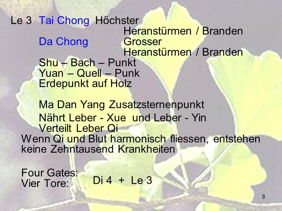 9 Le 3Tai ChongHöchster Heranstürmen / Branden Da ChongGrosser Heranstürmen / Branden Shu – Bach – Punkt Yuan – Quell – Punk Erdepunkt auf Holz Ma Dan