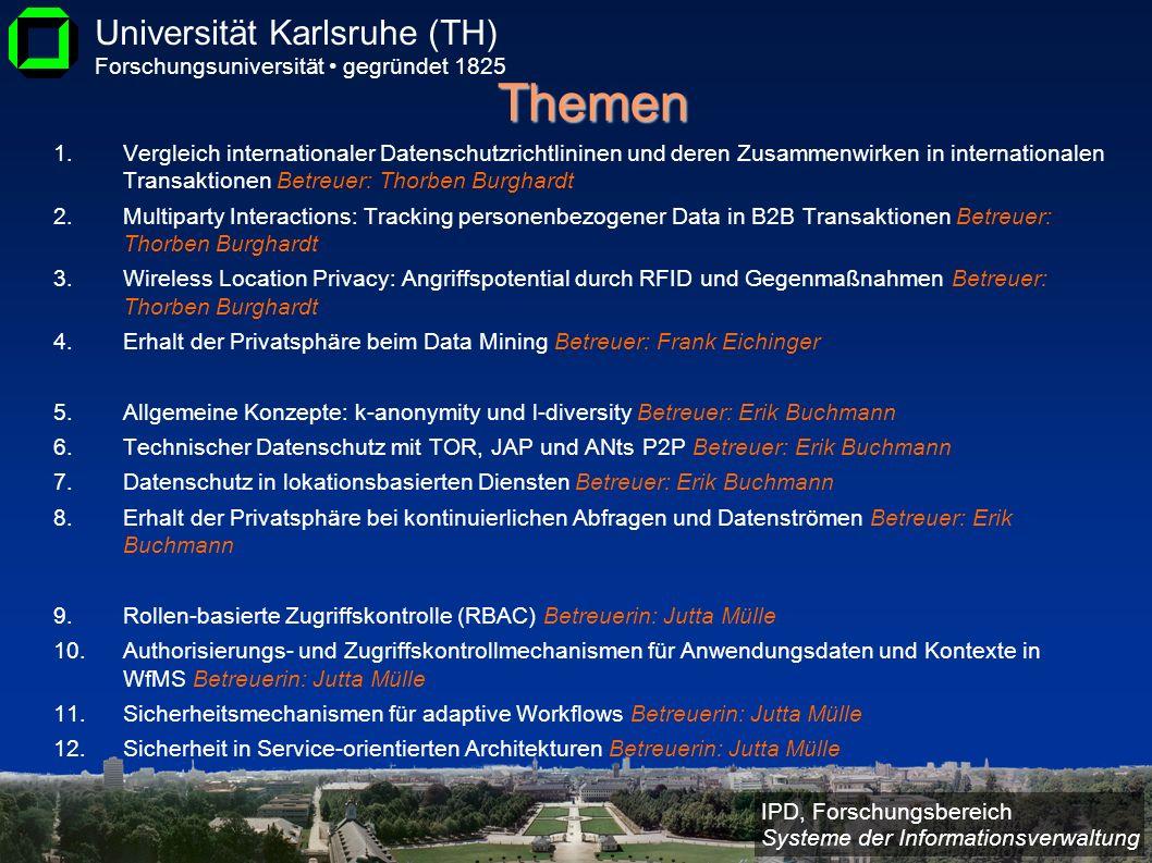 IPD, Forschungsbereich Systeme der Informationsverwaltung Universität Karlsruhe (TH) Forschungsuniversität gegründet 1825 Themen 1.Vergleich internati