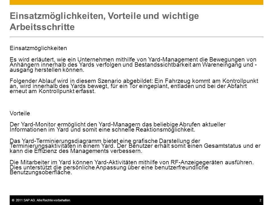 ©2011 SAP AG. Alle Rechte vorbehalten.2 Einsatzmöglichkeiten, Vorteile und wichtige Arbeitsschritte Einsatzmöglichkeiten Es wird erläutert, wie ein Un