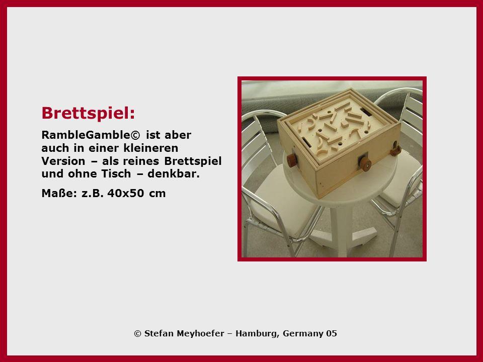 Brettspiel: RambleGamble© ist aber auch in einer kleineren Version – als reines Brettspiel und ohne Tisch – denkbar.