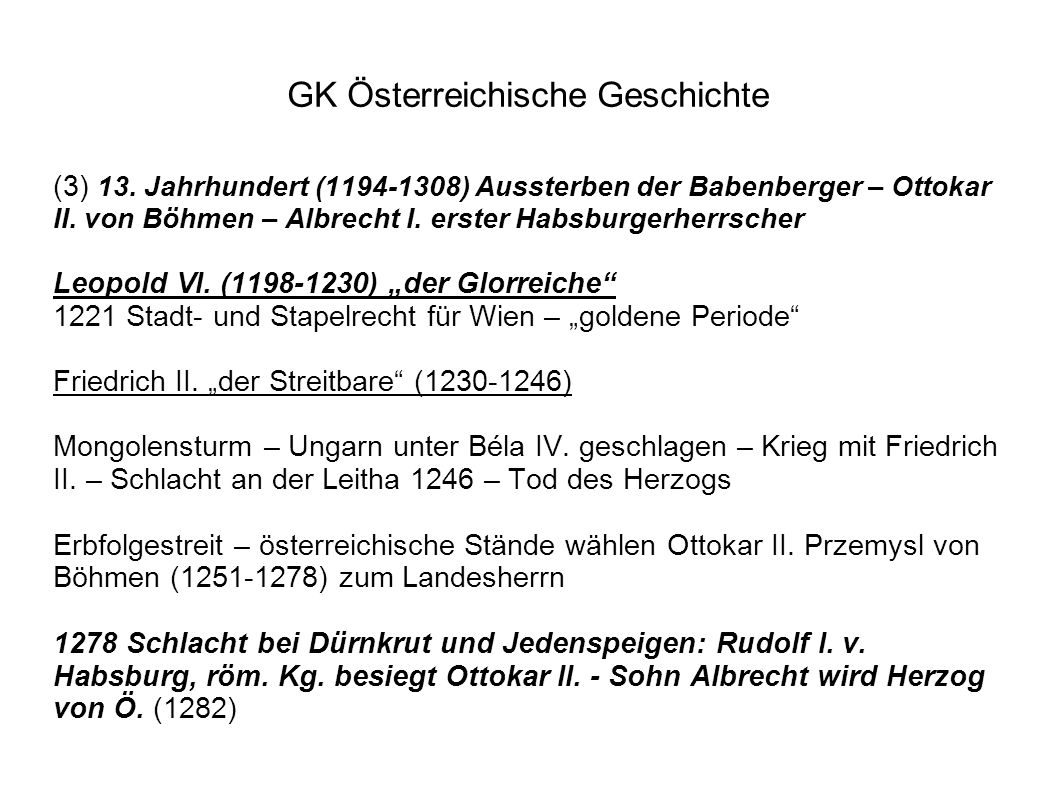 GK Österreichische Geschichte (3) 13.