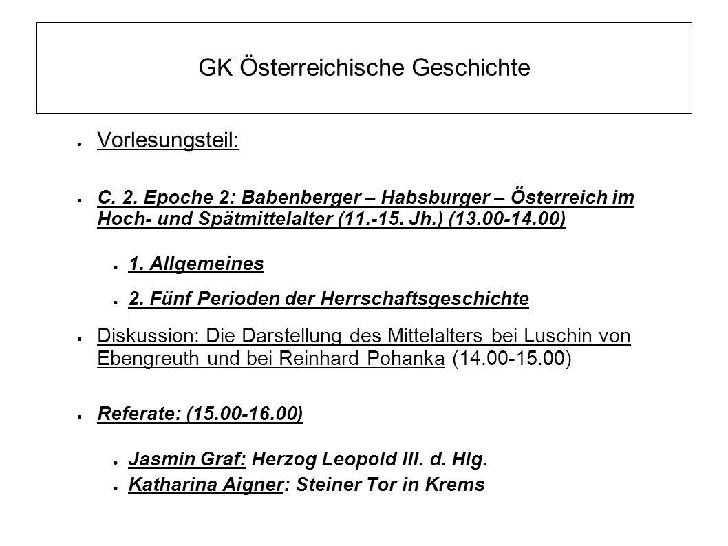 GK Österreichische Geschichte (5) 15.