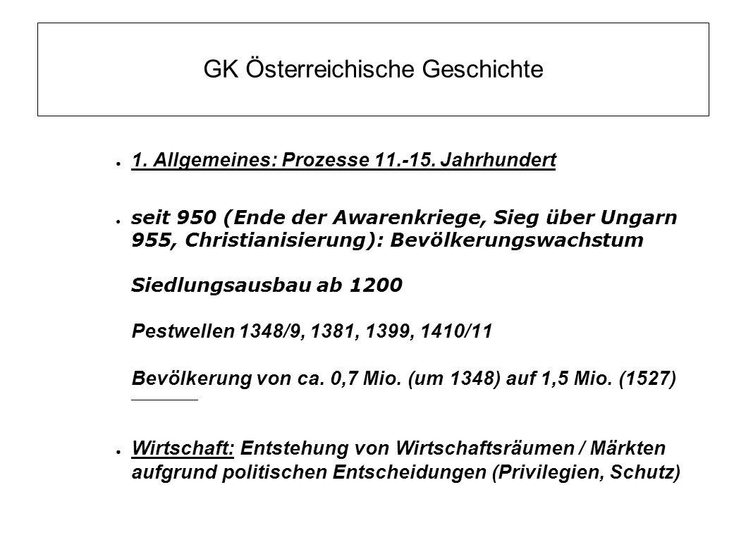 GK Österreichische Geschichte 1.Allgemeines: Prozesse 11.-15.