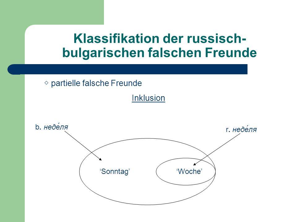 Klassifikation der russisch- bulgarischen falschen Freunde Überlappung b.
