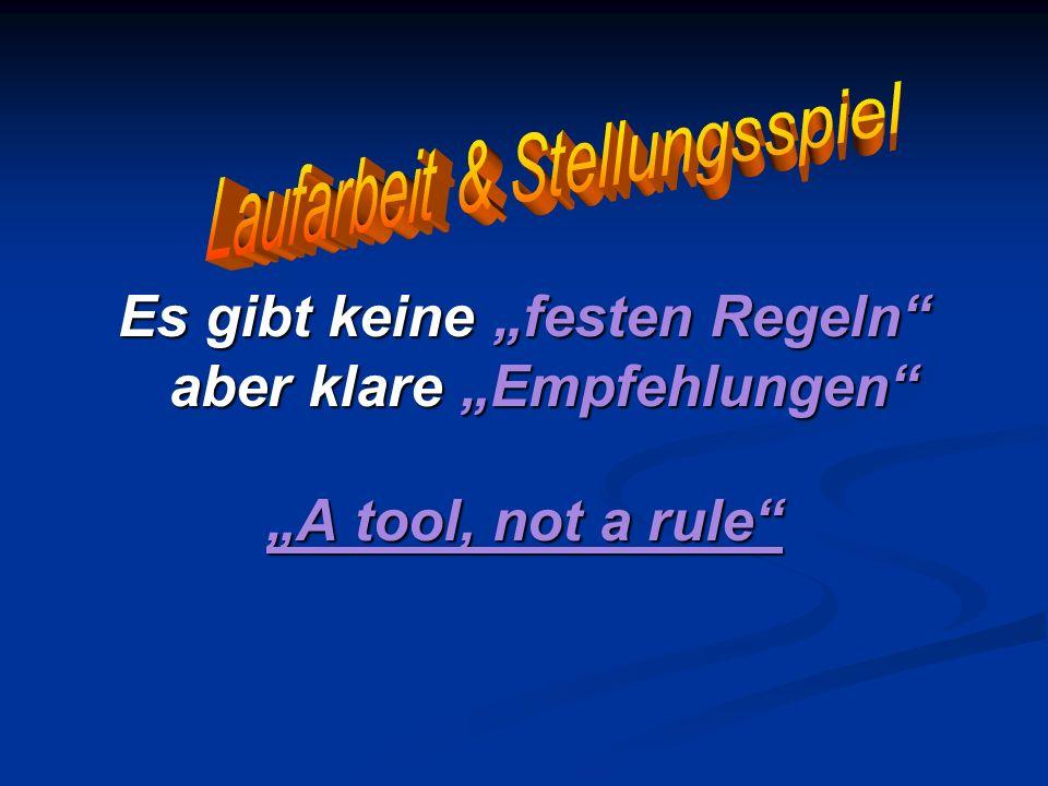 Es gibt keine festen Regeln aber klare Empfehlungen A tool, not a rule