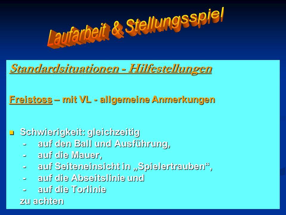Standardsituationen - Hilfestellungen Freistoss – mit VL - allgemeine Anmerkungen Schwierigkeit: gleichzeitig Schwierigkeit: gleichzeitig - auf den Ba