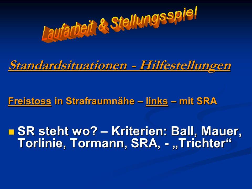 Standardsituationen - Hilfestellungen Freistoss in Strafraumnähe – links – mit SRA SR steht wo? – Kriterien: Ball, Mauer, Torlinie, Tormann, SRA, - Tr