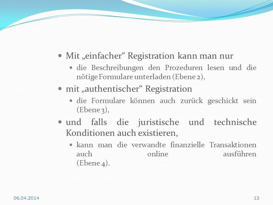 Mit einfacher Registration kann man nur die Beschreibungen den Prozeduren lesen und die nötige Formulare unterladen (Ebene 2), mit authentischer Regis