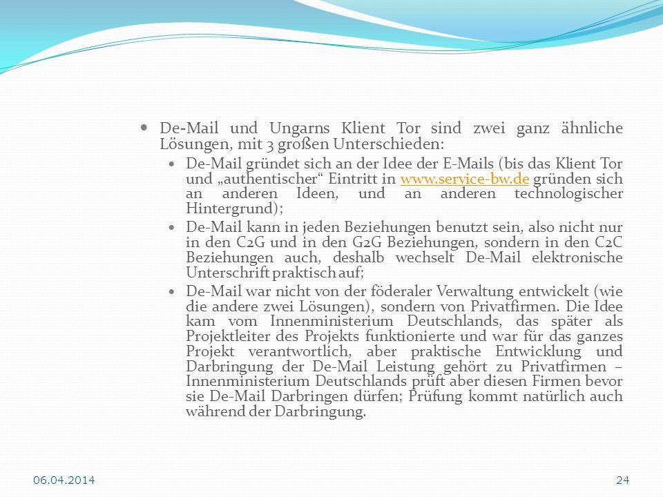De-Mail und Ungarns Klient Tor sind zwei ganz ähnliche Lösungen, mit 3 großen Unterschieden: De-Mail gründet sich an der Idee der E-Mails (bis das Kli