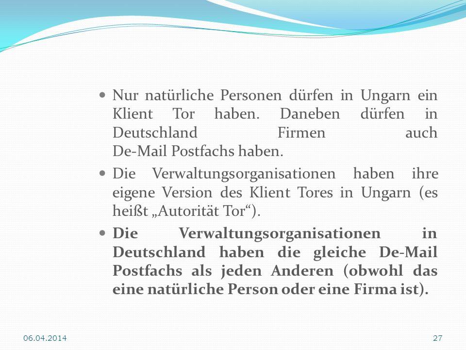 Nur natürliche Personen dürfen in Ungarn ein Klient Tor haben. Daneben dürfen in Deutschland Firmen auch De-Mail Postfachs haben. Die Verwaltungsorgan